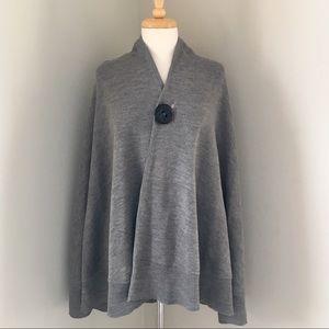 Katie Todd soft cardigan shawl poncho w/ button OS